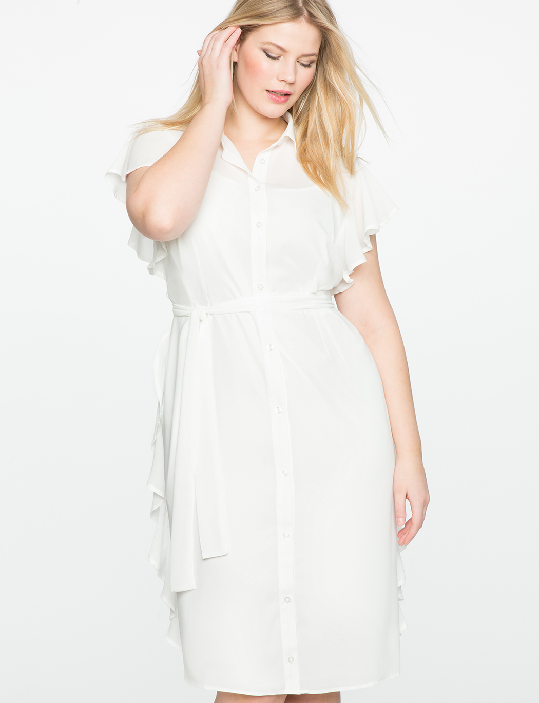 Shirt Dress with Side Tie and Flounce | Women\'s Plus Size Dresses | ELOQUII