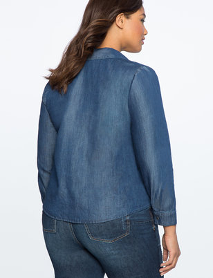 Asymmetric Button Chambray Top