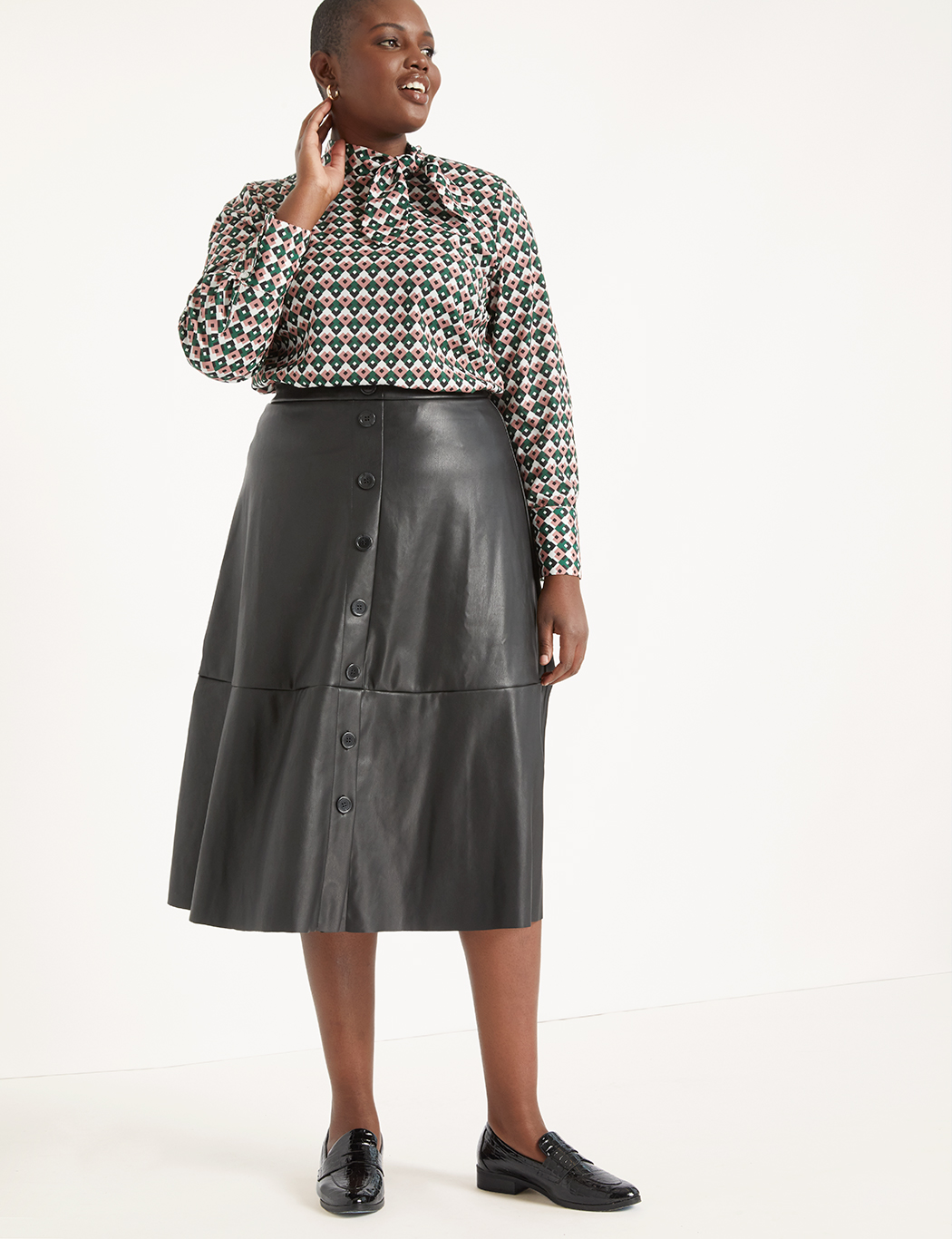 latest design lovely luster 2019 clearance sale Button Front Faux Leather Midi Skirt | Women's Plus Size Skirts | ELOQUII
