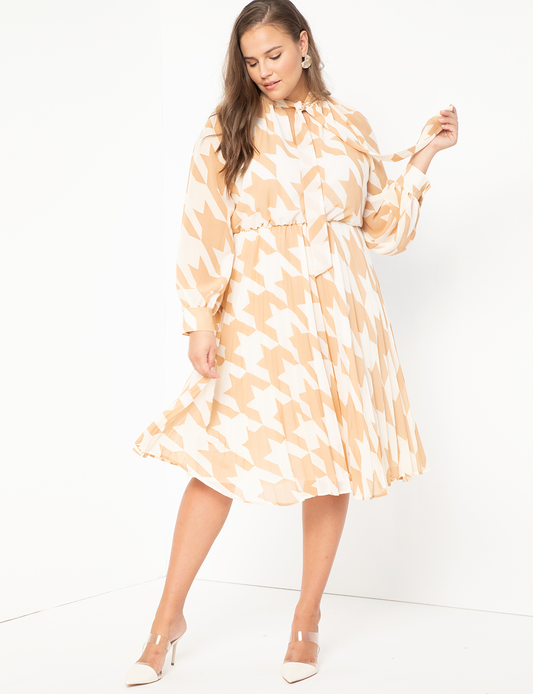 Sunburst Pleated Printed Dress
