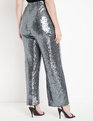 Wide Leg Sequin Pant Silver