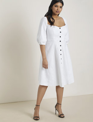 Button Front Puff Sleeve Dress
