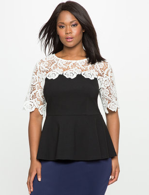 Lace Yoke Peplum Top