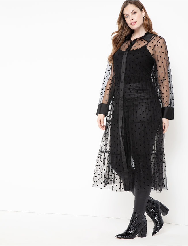 Sheer Dot Maxi Dress