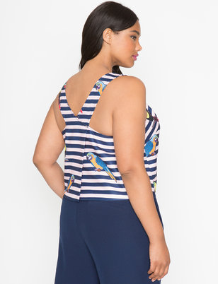 Studio Printed Cross Back Trapeze Top