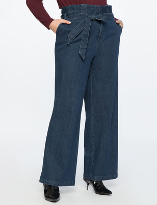 Ruffle Waisted Trouser Jean With Belt