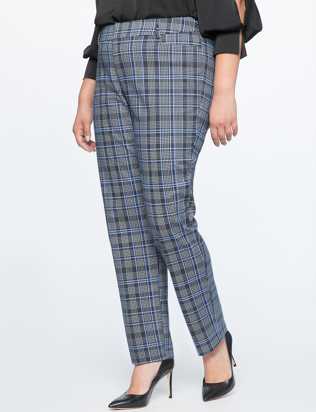 Kady Fit Double-Weave Plaid Pant