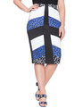 Studio Mixed Print Pencil Skirt Batik Dots