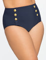 High Waist  Bikini Bottom with Gold Buttons Navy