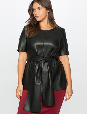 Studio Tie Faux Leather Top