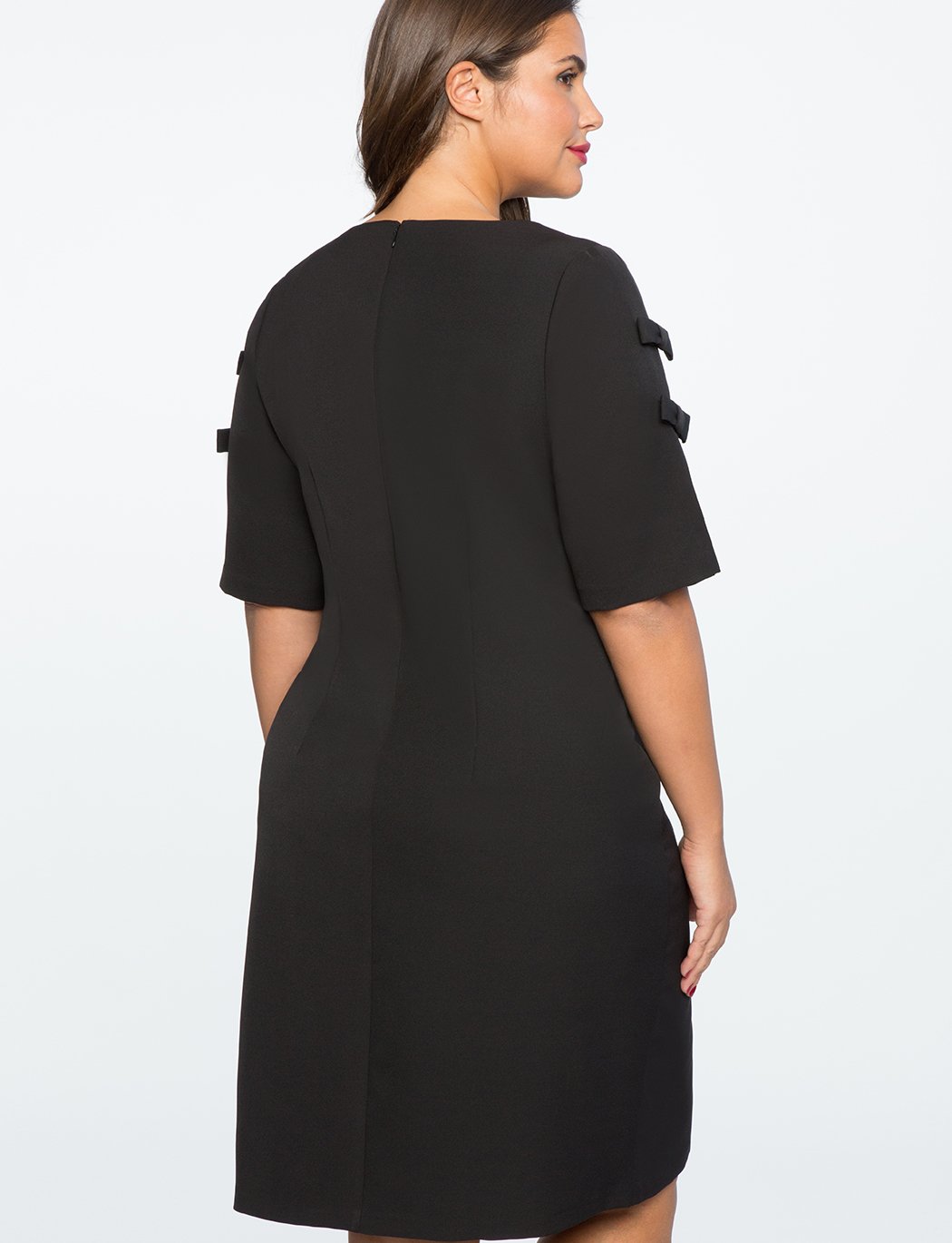 Slit Sleeve Dress with Bow Detail