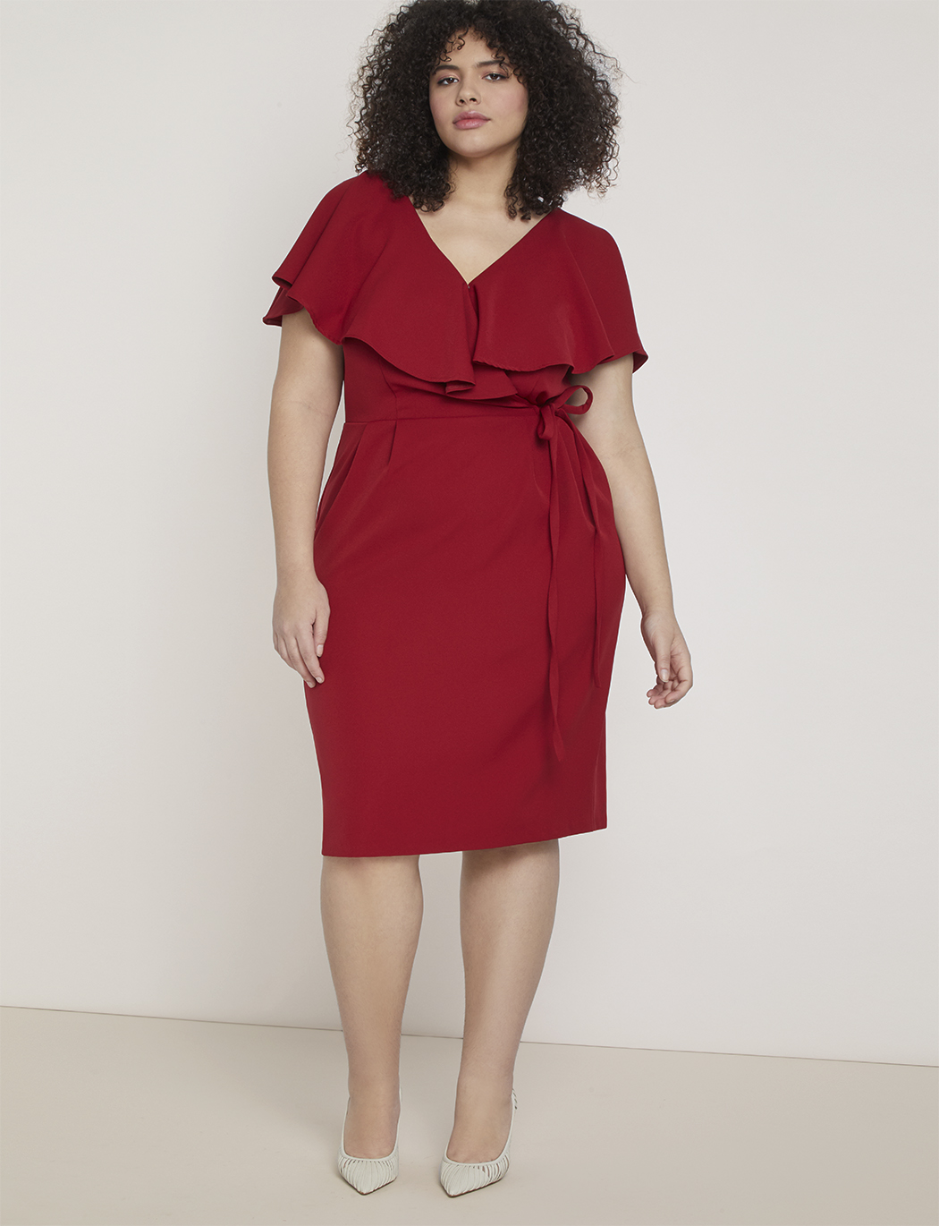 Surplice Bodice Dress with Cape Sleeve | Women\'s Plus Size Dresses | ELOQUII