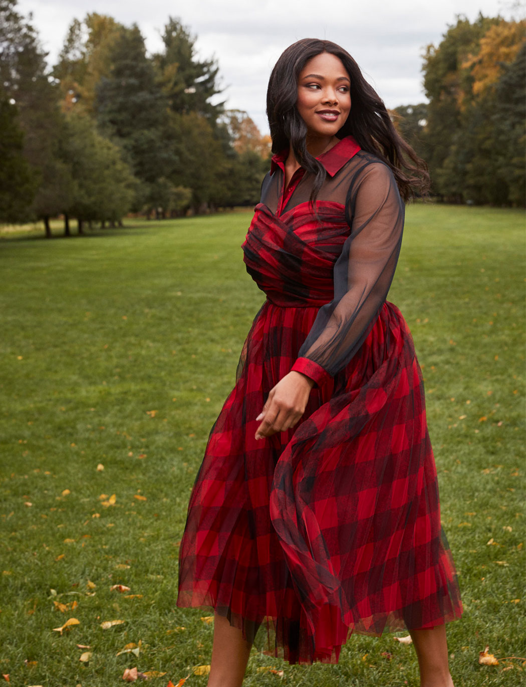 Plaid Two-fer Fit and Flare Dress
