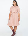Fit and Flare Dress with Oversized Bow DUSTY ROSE