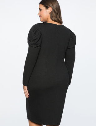 Crewneck Dress with Draped Front