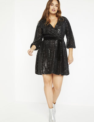 Sequin Wrap Dress with Velvet Belt