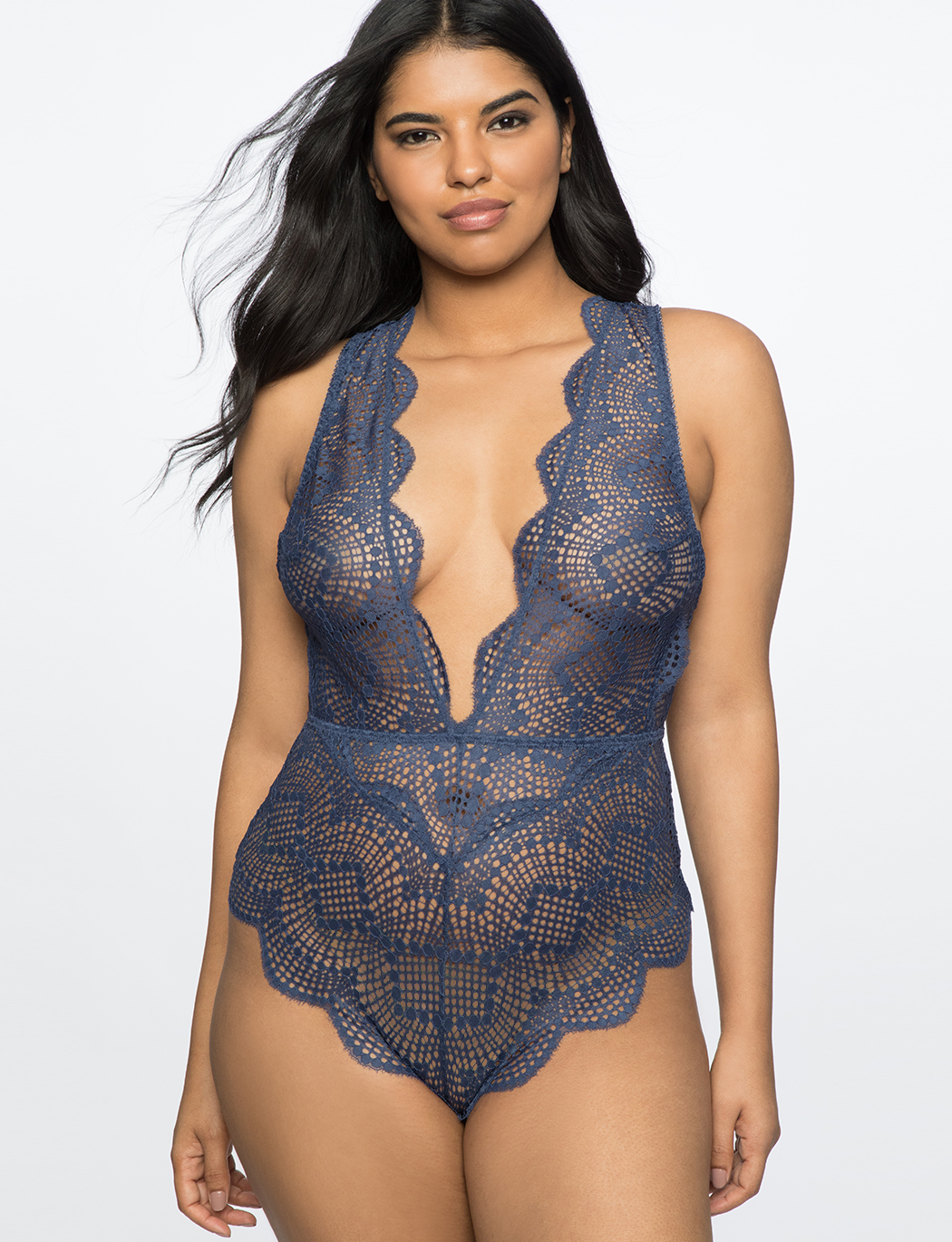Lace Bodysuit with Plunging Neckline  5a1aaffb5
