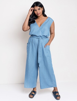 Tie Front Chambray Jumpsuit