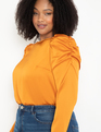 Long Sleeve Top with Puff Shoulders Golden Oak