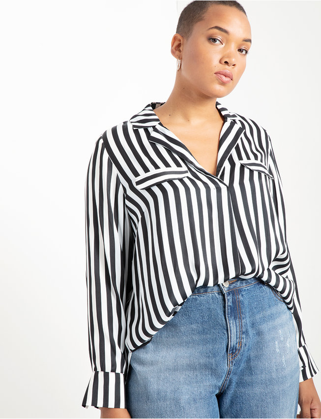Notch Collar Blouse with Patch Pockets
