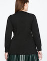 Ruffle Hem Crossover Sweater Totally Black
