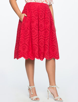 Teresa for ELOQUII Sangallo Eyelet Midi Skirt