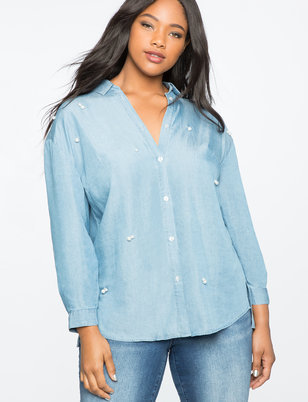 Pearl Embellished Chambray Top