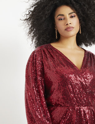 Sequin Puff Sleeve Wrap Dress