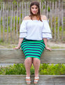 Neoprene Pencil Skirt Paradise Stripe