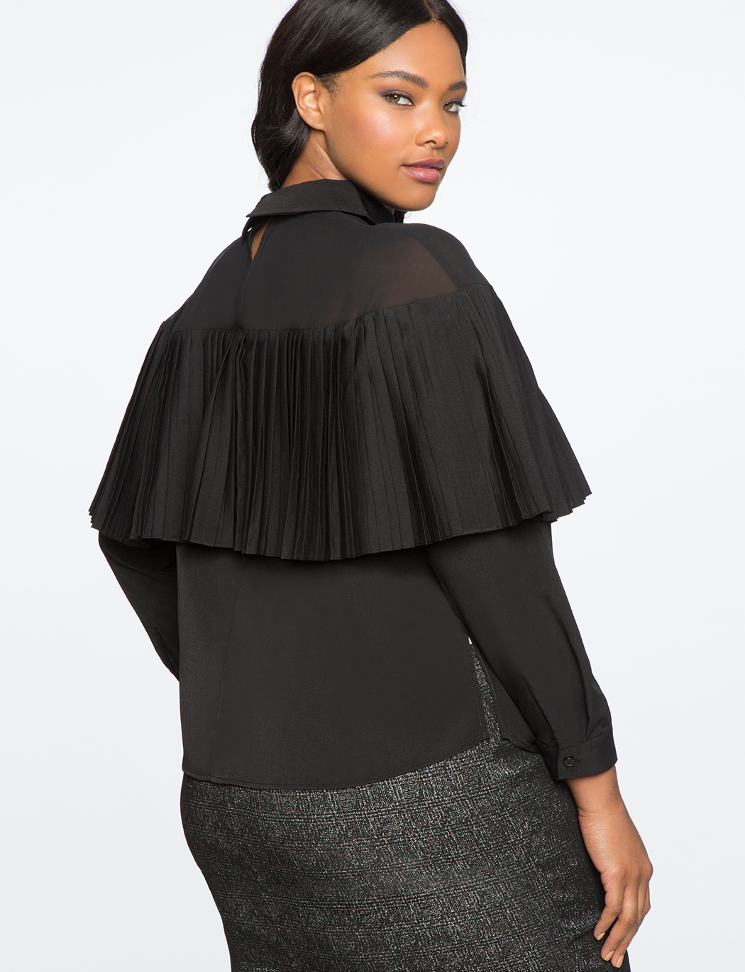 Mesh Yoke Collar Top