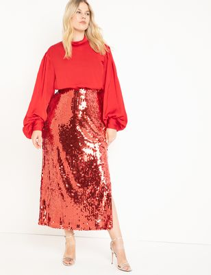 Sequin Maxi Skirt with Side Slit