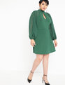 Slit Front Dress with Sheer Sleeves Dark Green