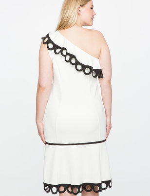 One Shoulder Contrast Trim Dress