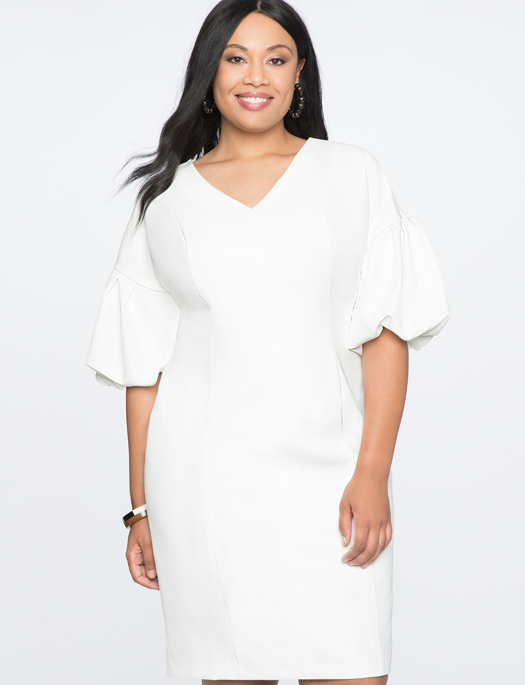 Puff Sleeve V-Neck Dress | Women\'s Plus Size Dresses | ELOQUII