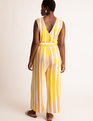 V-Neck Jumpsuit With Belt Yellow Stripe