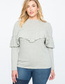 Ruffle Front Long Sleeve Sweatshirt