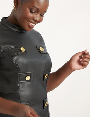 Faux Leather Mock Neck Military Dress