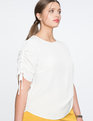 Ruched Sleeve Top Soft White
