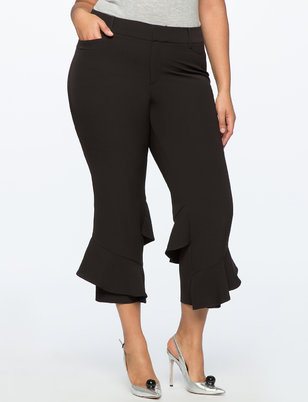 Straight Leg Pant with Wrapping Ruffle