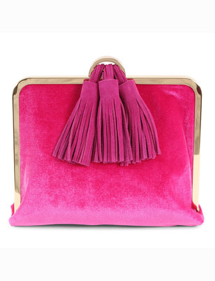 Velvet Clutch with Tassel Detail