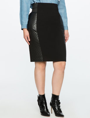 Miracle Flawless Pencil Skirt with Faux Leather Detail