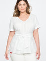 Textured Stripe Peplum Top White