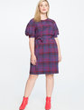 Plaid Puff Sleeve Dress Lipstick Red Check