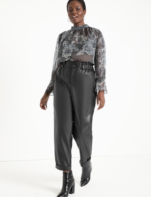 Ruffle Waist Vegan Faux Leather Pant
