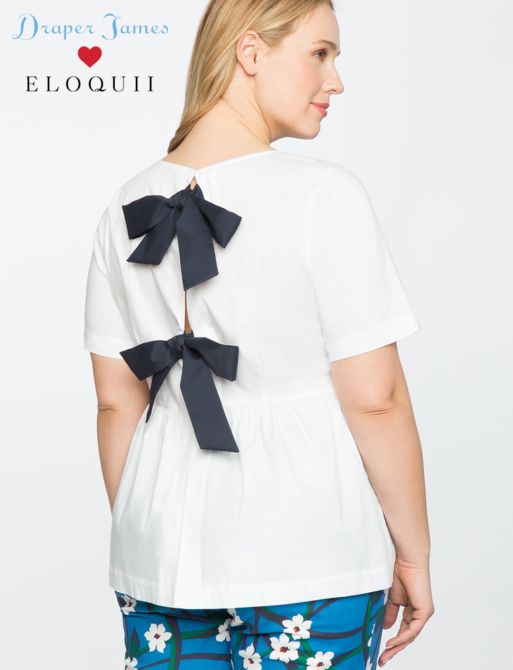 82bb023939f Draper James for ELOQUII Peplum Top with Bows