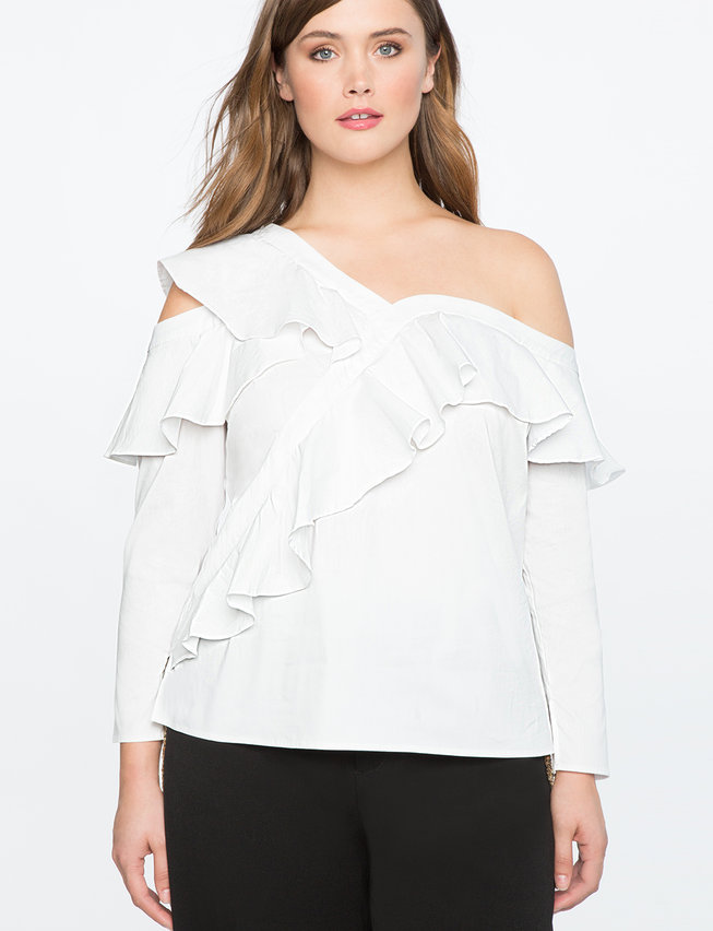 Asymmetric One Shoulder Ruffle Top