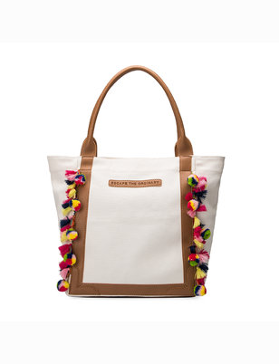 Multi-Colored Fringe Trim Tote