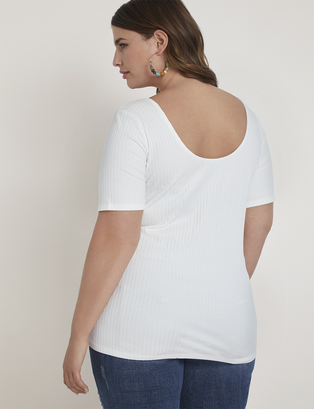Square Neck Tee with Wooden Buckle