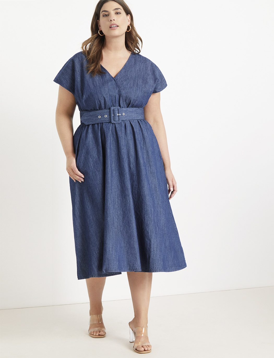 Chambray Midi Dress | Women\'s Plus Size Dresses | ELOQUII