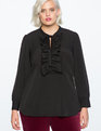Tie Neck Ruffle Detail Blouse TOTALLY BLACK